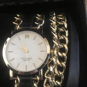 VS Gold Tone Watch with Chain & Black Strap, New!